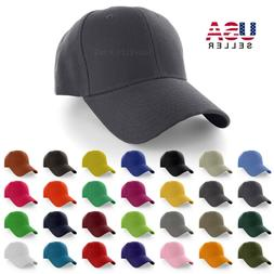 Plain Baseball Cap Solid Color Blank Curved Visor Hat Adjust