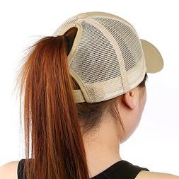 HYKYMY Ponytail Baseball Cap Hat Ponycap Messy Bun Mesh Adju