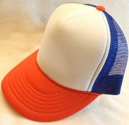 RED WHITE & BLUE 1980's TRUCKER HAT snapback cap 80s strange