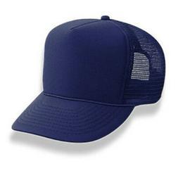 Retro Foam & Mesh Trucker Baseball Hat, Navy Blue