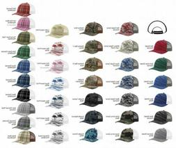 Richardson Camo Patterned Trucker Ball Cap Meshback Hat Snap
