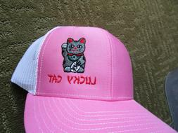 Richardson Hat 112  Snap Back Pink & White hat with a Lucky