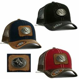 RODEO COWBOY Hat Bull Rider Metal Patched Mesh Trucker Snapb