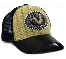 ROOSTER Straw Woven Hat Metal Patched Mesh Trucker Snapback