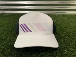 Adidas Snapback Stripe Trucker Golf Hat White Black Purple O