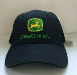 JOHN DEERE Snapback Trucker Hat Mesh Cap Black One Size JD L