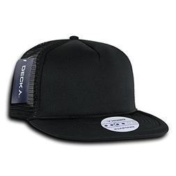 DECKY Solid Color Flat Bill Foam Trucker Hat, Black