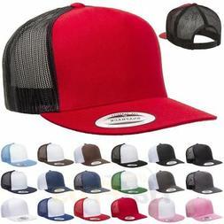 ss Yupoong-Classics-Trucker-Mesh-Hat-FLAT BILL -5-Panel-6006