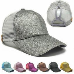 Summer Glitter Adjustable Mesh Trucker Ponytail Baseball Cap