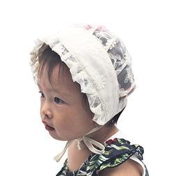 ArMordy Princess Lace Baby Bonnet Enfant Lace-up Summer Baby