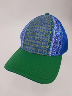prAna Trucker Hat Adjustable Mesh Green Blue Purple EUC