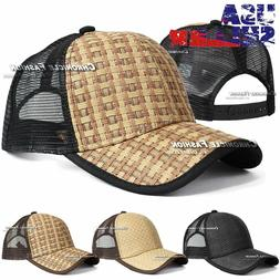 Trucker Hat Baseball Mesh Back Snapback Cap Adjustable Curve