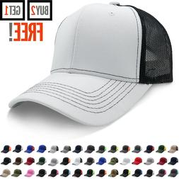 Trucker Hat Cotton Mesh Solid Washed Polo Style Baseball Cap