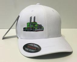TRUCKER HAT FLEXFIT FITTED CAP BIG RIG TRUCK PETERBILT KENWO