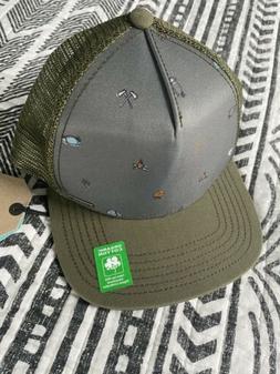 prAna Trucker Hat Green Camping Fire Hatchets Baseball Cap O