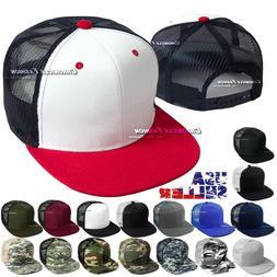 Trucker Hat Mesh Back Baseball Cap Snapback Adjustable Flat
