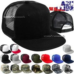 Trucker Hat Mesh Baseball Snapback Cap Adjustable Flat Visor