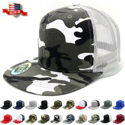 Trucker Hat Mesh Snapback Hats for Men Adjustable Size Flat