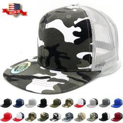 Trucker Hat Mesh Snapback Hats for Men Adjustable Size Flat