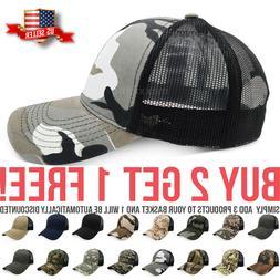 Trucker Hat Mesh Solid Washed Polo Style Baseball Cap Visor