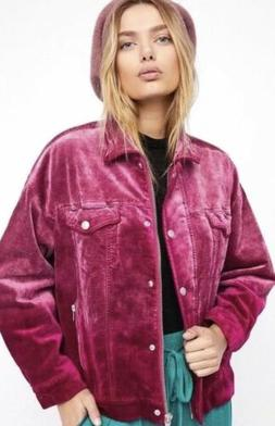 Free People Trucker Jacket M/L Pink Coat Zip Up Snap Button