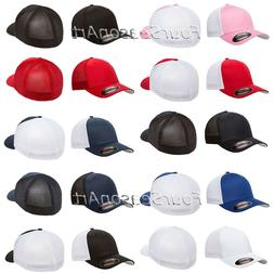 FLEXFIT TRUCKER MESH CAP PLAIN BLANK BASEBALL HAT FLEX FIT C