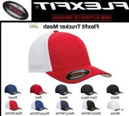 FLEXFIT TRUCKER MESH HAT Plain Blank Baseball Cap Curved Bil