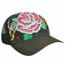 TRUCKER MESH ROSE BROWN HAT CAP FASHION NOVELTY ADJ NEW