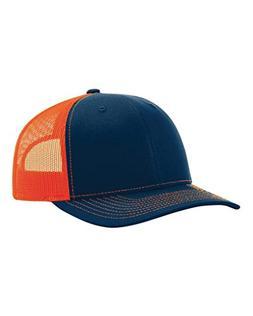 Richardson Twill Mesh Back Trucker Snapback Hat -- Navy/Oran