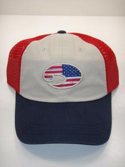 COSTA DEL MAR UNITED TRUCKER HAT USA FLAG TWILL NAVY MESH AD