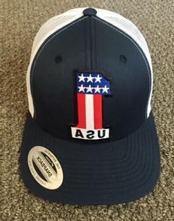 US Flag Hat #1 Trucker SnapBack Mesh Cap United States Handc