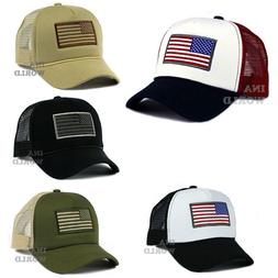 USA American Flag Hat Foam Cap Mesh Trucker Snapback Curved