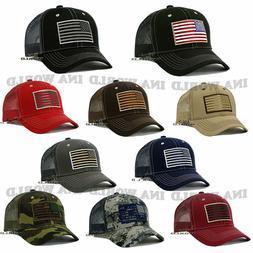 USA AMERICAN Flag Hat Tactical Military Snapback Mesh Trucke