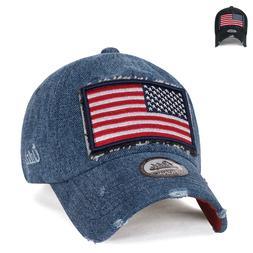 ililily USA Flag Patch Denim Cotton Vintage Distressed Baseb