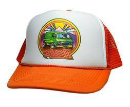 Vintage Dodge Super Van Hat Trucker Snapback 80s Orange Mopa