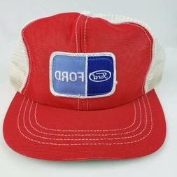 Vintage Ford Vehicles Red & White Trucker Hat Snapback NOS n