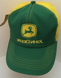 Vintage JOHN DEERE Green Yellow Mesh Trucker Hat Snapback Ca