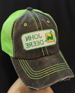 Vintage John Deere Mesh Trucker Hat John Deere Neon Green Ad
