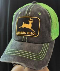Vintage John Deere Mesh Trucker Hat John Deere Neon Green Me