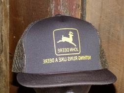 Vintage John Deere Mesh Trucker Hat Snapback Brown Yellow Ca