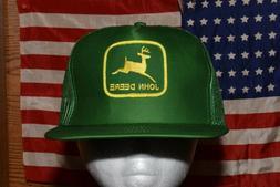 Vintage JOHN DEERE Snapback Trucker Hat Mesh Patch Cap Green