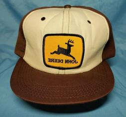 VINTAGE John Deere Snapback Patch Trucker Hat Cap Brown Beig