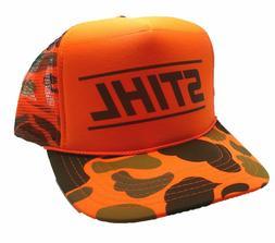 Vintage Stihl Chainsaws Hat trucker hat snap back Orange Cam