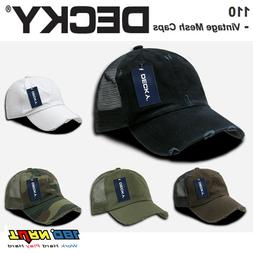DECKY Vintage Washed Mesh Trucker Hat, Relaxed 6 Panel Curve