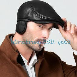 Vogue Men's Leather Beret Hat Newsboy Hats Golf Caps Winter