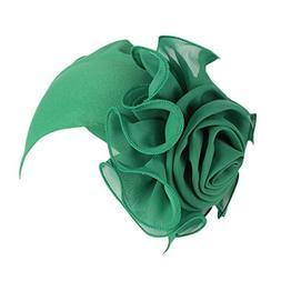 GREFER Women Retro Big Flowers Hat Ladies Turban Brim Hat Ca