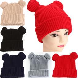 Women's Cute Warm Winter Animal Style Ear Knitted Hat Stretc