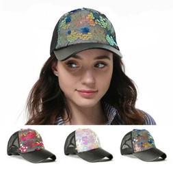 Women Sequins Hats Girls Trucker Cap Shiny Mesh Bone Spring