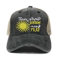 Womens Custom Beach Girl's Wanna Have Sun Trucker Hats Distr