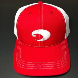 COSTA DEL MAR XL STRUCTURED RED WHITE TRUCKER CAP HAT BRAND